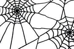 Svart spiderweb som halloween bakgrund med isolerat utrymme Royaltyfria Bilder