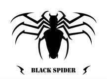 Svart spindel på vit bakgrund vektor illustrationer