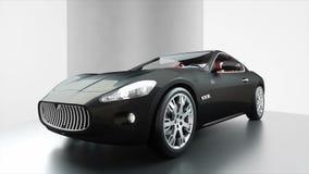 Svart sportbil för lyx med den röda läderinre Realistisk animering 4K lager videofilmer
