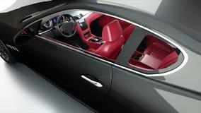 Svart sportbil för lyx med den röda läderinre Realistisk animering 4K arkivfilmer