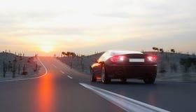 Svart sportbil på vägen, huvudväg Mycket snabb körning framförande 3d Royaltyfria Bilder