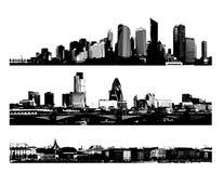 svart stadspanoramawhite Arkivfoton