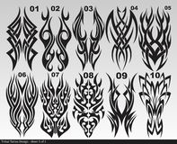 Svart stam- tatueringdesignark 001-010 Royaltyfri Foto