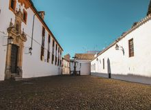 Svart stenar plazaen i Cordoba royaltyfri fotografi