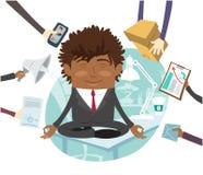 Svart stillhet för sammanträde för affärsman på tabellen som mediterar på kontoret vektor illustrationer