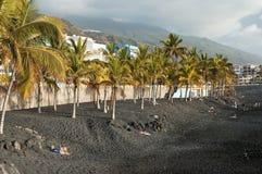 Svart strand av Puerto Naos, La Palma, kanariefågelöar Arkivfoton