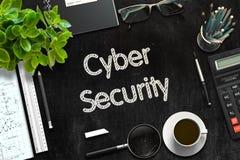 Svart svart tavla med Cybersäkerhetsbegrepp framförande 3d Royaltyfri Bild
