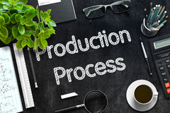 Svart svart tavla med produktionsprocess framförande 3d Arkivbilder