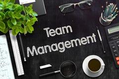 Svart svart tavla med Team Management framförande 3d Royaltyfri Fotografi