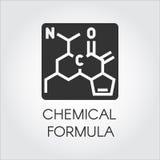 Svart symbol av den kemiska formeln i plan stil Medicin vetenskap, biologi, kemitema vektor för designelementetikett royaltyfri illustrationer