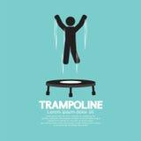 Svart symbol av en Person Jumping On Trampoline Royaltyfria Bilder