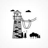 Svart symbol för repbanhoppning stock illustrationer