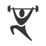 Svart symbol för tyngdlyftning för konturpictogramman vektor illustrationer