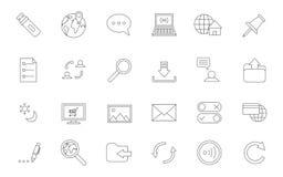 Svart symbolsuppsättning för internet Fotografering för Bildbyråer
