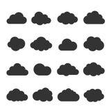 Svart symbolsuppsättning för moln stock illustrationer
