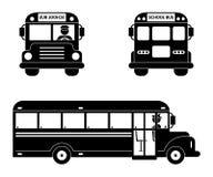 Svart symboluppsättning för skolbuss Framdel-, sido- och baksidasikt på vit stock illustrationer
