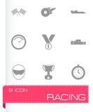 Svart tävlings- symbolsuppsättning för vektor Arkivbilder