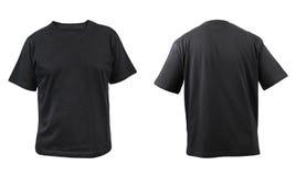 Svart t-skjorta framdel- och baksidasikt. Royaltyfria Foton