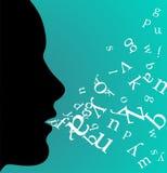 svart tala för kvinnligprofil Arkivfoton