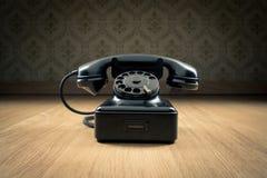 Svart 50-taltelefon Fotografering för Bildbyråer