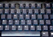 Svart tangentbord med arbetslock Royaltyfria Bilder