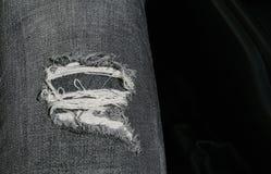 Svart tapet för jeansbristdetalj Royaltyfri Bild