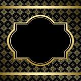 Svart tappningkort med den guld- prydnaden Royaltyfri Bild
