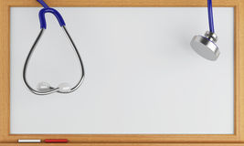 svart tavla 3d och stetoskop Arkivfoton