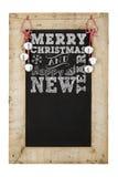 Svart tavla för nya år för glad jul arkivfoton