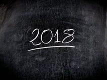 svart tavla för svart tavla för 2018 text handskriven skrapad Arkivfoto