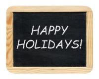 Svart tavla med lyckliga ferier! uttryck Royaltyfri Fotografi