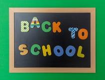 Svart svart tavla med träramen, textbaksida till skola i färgrika bokstäver, grön väggbakgrund royaltyfria bilder