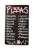 Svart tavla meny av olika typer av pizza Royaltyfria Foton