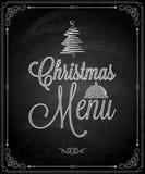 Svart tavla - meny för glad jul för ram Arkivfoto