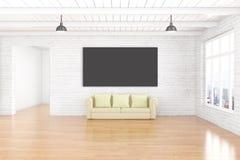 Svart tavla och soffa i rum stock illustrationer