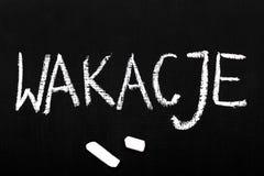 Svart tavla: Polskt ord: sommarferier stock illustrationer