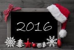 Svart tavla Santa Hat Christmas Decoration Text 2016 royaltyfria foton