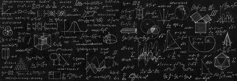 Svart tavla som inskrivas med vetenskapliga formler och beräkningar I Arkivbilder