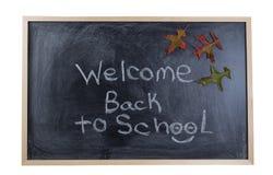 Svart tavla som tillbaka välkomnar studenten till skolan i höstsen Royaltyfria Bilder
