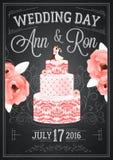 Svart tavlaaffisch för bröllop Arkivfoton