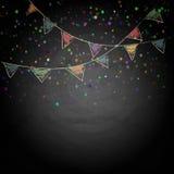 Svart tavlabakgrund med teckningsbuntingflaggor Arkivbilder