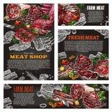Svart tavlabanret för köttprodukten för slaktare shoppar stock illustrationer