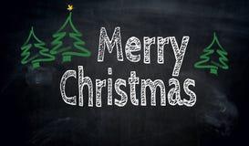 Svart tavlabegrepp för glad jul Royaltyfri Fotografi