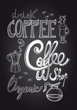 Svart tavlaillustration för kaffe Arkivbilder