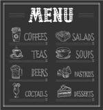 Svart tavlamenymall av mat och drinkar Arkivfoton