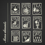 Svart tavlamenysymboler - drinkar Fotografering för Bildbyråer
