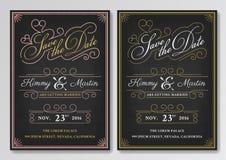 Svart tavlaräddning för tappning mallen för datumbröllopinbjudan Arkivbild