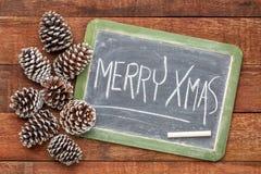 Svart tavlatecken för glad jul arkivbild