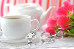 Svart te för morgon Arkivbilder