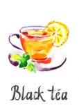 Svart te för vattenfärg Royaltyfri Illustrationer